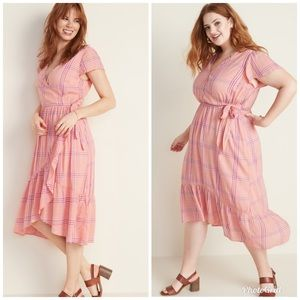 OLD NAVY Plaid Midi Dress Pink Faux Wrap Ruffle
